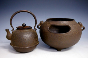 hn900 般若勘渓作 瓢鐶付風炉真形鉄瓶添 鐵壺 約0.8L【日本製・証明書付き】【海外対応可】