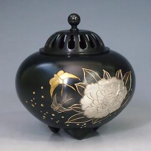 134-54,伝統美 香炉 「平丸・牡丹」銅製 桐箱付 【 高岡銅器 】