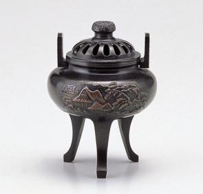 137-57,伝統美術 香炉 「菊蓋山水」 【 高岡銅器 】