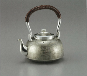 obg-n033, 大淵光則作  純銀 湯沸 ゴザ目 並型 4.5寸