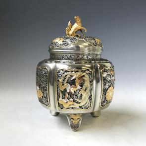 sk38-10,六陵瑞鳥紋香炉 銀香炉