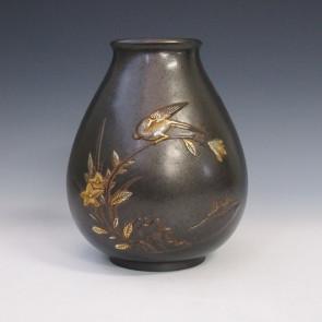 花瓶/ダルマ形花鳥 花器 銅製 桐箱入り k2