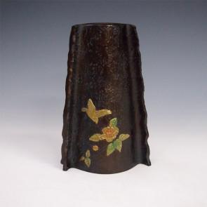 花瓶/花鳥 変形 花器 銅製 桐箱入り k4