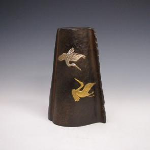 花瓶/鶴 変形 花器 銅製 桐箱入り k5