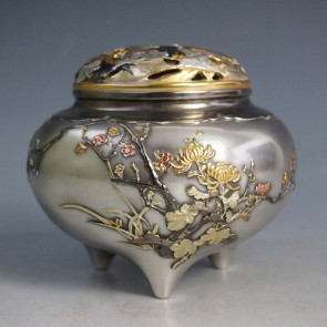 No.sk38-06-L, silver incense burner, four types of Chinese flower