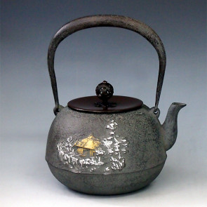 No.tb109, Iron kettle (teakettle), design is natural landscape with covering gold and silver powder, Made by Masamitu Kikuchi, nearly 1.6L