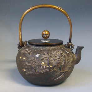 No.tb130, Kibundo iron kettle(teakettle) replica, the design is pavilion and its surrounding scenery, body inlays silver and gold, Made in Japan, nearly 1.5L