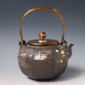 No.tb147, Kibundo iron kettle (teakettle) replica,design is octangle shape with mountain scenery, body inlays silver and gold, handle and knob inlay silver, Made in Japan, nearly 1.4L