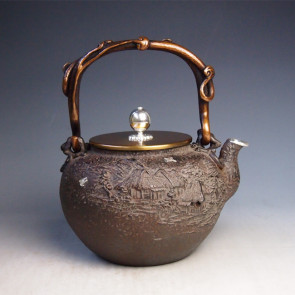 No.tb217a,Kibundo iron kettle(teakettle) replica , design is rural scenery  with silver spout , silver inlay in the body, Made in Japan, nearly 1.7L