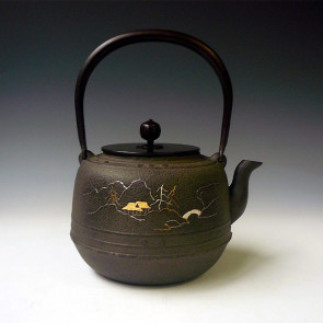 No.tb228, countryside landscape iron kettle, made by Jyokei Kikuchi, approximately 1.6L, iron kettle