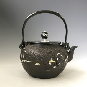 No.tb231, Kibundo iron kettle replica, designed a pavilion pattern and Chinese poem, made by Kiryudo