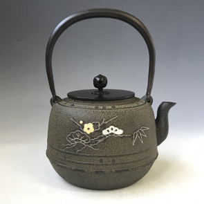 No. tb245, iron kettle with pine, bamboo,plum flower inlay,  made by Jokei, about 1.6L, iron kettle