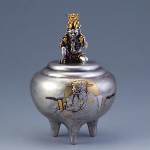 sk53-11, silver incense burner, folk tale pattern