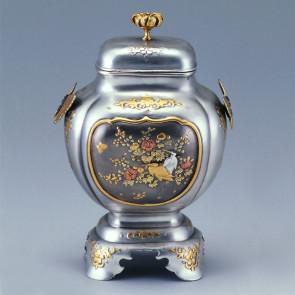 No.sk53-12, silver incense burner, birds and flower pattern, crythansemum lid knob