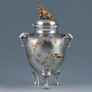 sk53-16, silver incense burner, landscape pattern and lion lid
