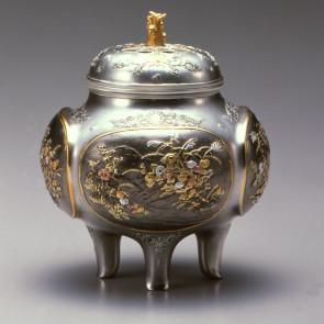 No.sk53-17, silver incense burner, autumn flowers
