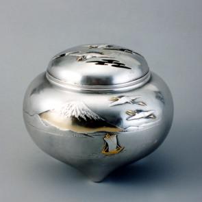 No.sk53-19, silver incense burner, Mount- Fuji pattern