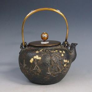 tb137, 龟文堂模本  和合二仙图 铁壶 约 1.5L, 铁壶