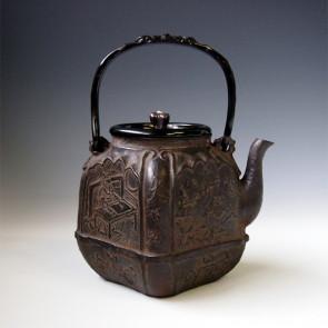 tb221, 大国模本  四方鉄瓶 摘和座:银彩 鬼面形提手 1.4L 铁壶