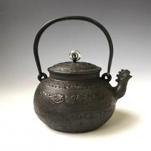 tb232, 金寿堂模本 饕餮纹铁壶 纯银壶摘 约0.7L 铁壶