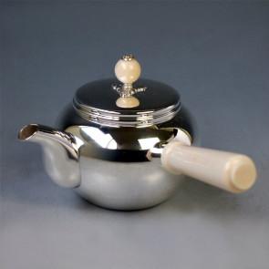 yk1 纯银 银壶 横手把 亮面 (小) 象牙摘 约0.1L 泡茶 银壶