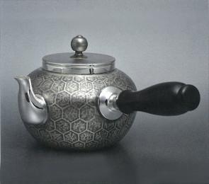 obg-n114, 大渊光则作 纯银泡茶壶 龟甲纹 约0.2L, 银壶