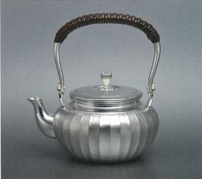 obg-n115, 大渊光则作 纯银泡茶壶 竖条纹 约0.2L,银壶