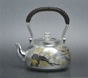 obg-n116,大渊光则作 纯银泡茶壶 吉祥松竹梅图 约0.2L,银壶