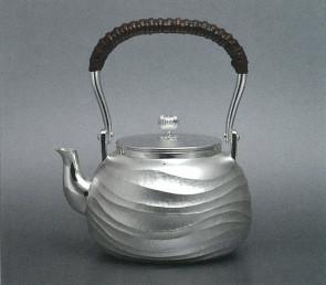 obg-n117,大渊光则作 纯银泡茶壶 波浪纹 约0.2L,银壶