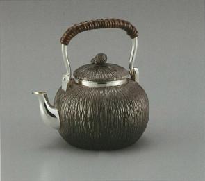 obg-n012, 大渊光则作 纯银泡茶壶 椰子形 怀旧色 提手把 约0.2L 银壶