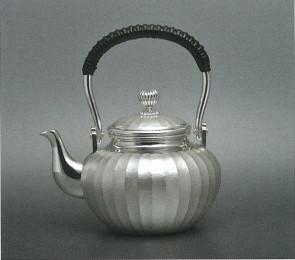 obg-n121, 大渊光则作 纯银泡茶壶 竖条纹 约0.3L, 银壶