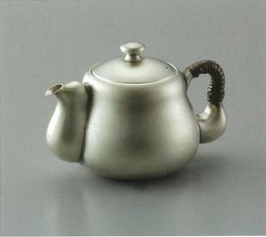 obg-n013, 大渊光则作 纯银泡茶壶 梨子肌理 约0.2L, 银壶