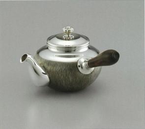 obg-n016, 大渊光则作 榻榻米纹纯银泡茶壶 约0.2L,银壶