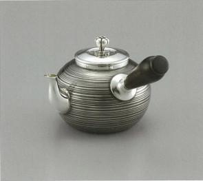 obg-n017, 大渊光则作 纯银泡茶壶 条纹黑白相间色 约0.2L  银壶