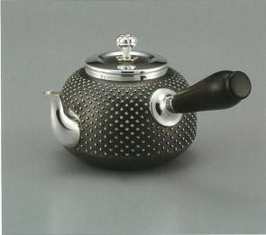 obg-n019, 大渊光则作  纯银泡茶壶 雪珠纹 约0.2L, 银壶