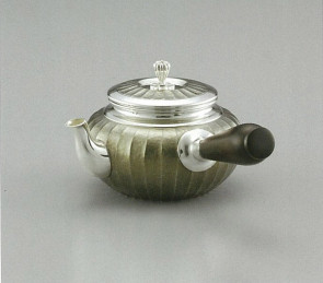 obg-n021, 大渊光则作 经典竖条槌纹 纯银 泡茶壶 约0.2L