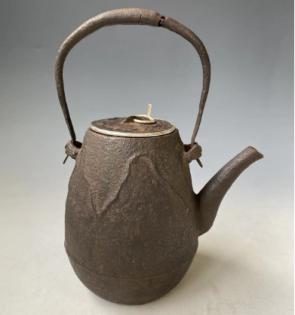 htb189 10代大西清右卫门 净雪作 茄子形铁壶 带交换壶盖 壶盖包银