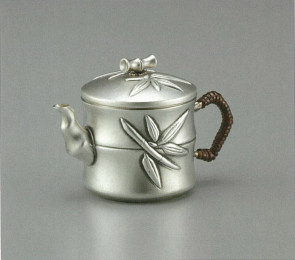 obg-n009, 大渊光则作 竹筒形纯银泡茶壶 燻银色 约0.1L, 银壶