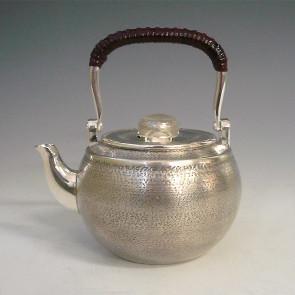obg-n002, 纯银泡茶壶 圆形 雅色 提手把 约0.3L 银壶