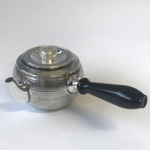 obg-n004, 大渊银器作 纯银泡茶壶 圆形 雅色 约0.3L, 银壶