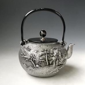 tb130sa, 龜文堂模本 樓閣山水(白居易)砂鐵壺 銀鑲嵌 約 1.5L, 砂鐵鐵壺