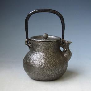 tb143sa, 龜文堂模本 初代 波多野正平 鶴首形 約 0.7L, 砂鐵 鐵壺