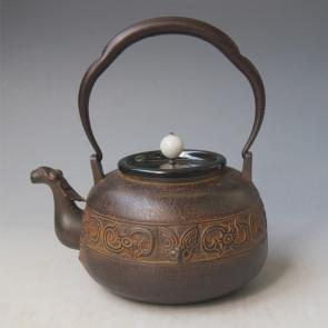 tb183, 藏六模本 饕餮紋鐵壺  翡翠 摘手座:銀 約1.1L 鐵壺
