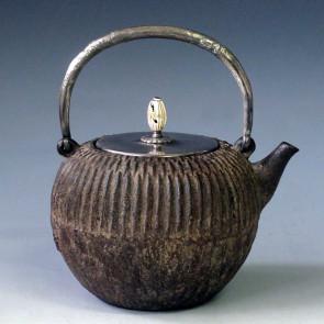 tb18b, 藏六模本 菊花形 摘手和座鍍銀 蟲咬形提手 約 1.0L, 鐵壺