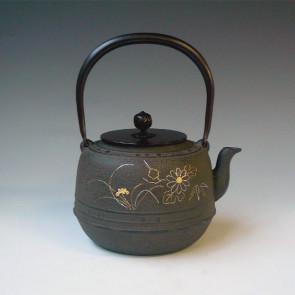 tb229, 四君子鑲嵌圖鐵壺 菊地浄慶作 約1.6L 鐵壺