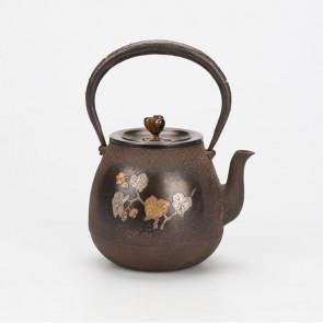 hn2729h,龍文堂模本 秋海棠牡丹鐵壺 約0.8L 鐵壺